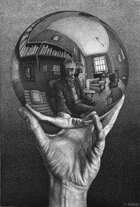 """M.C. Echer's """"Maine avec sphère réflectante"""" (1935)"""